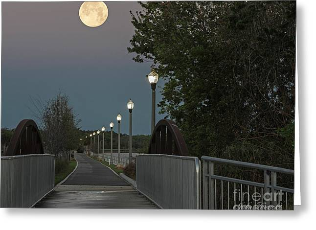 River Walk Moon Rise Greeting Card