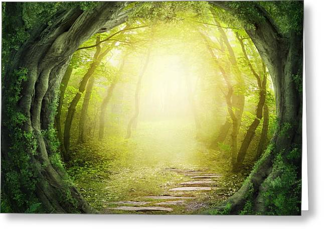 Road In Magic Dark Forest Greeting Card