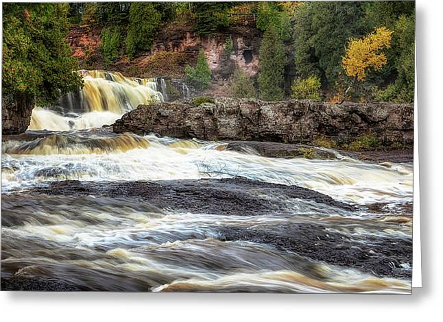 Greeting Card featuring the photograph Roaring Gooseberry Falls by Susan Rissi Tregoning