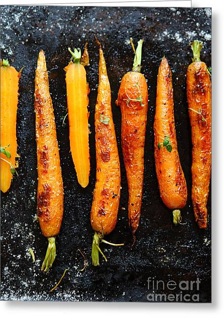 Roasted Carrots With Spices On A Baking Greeting Card