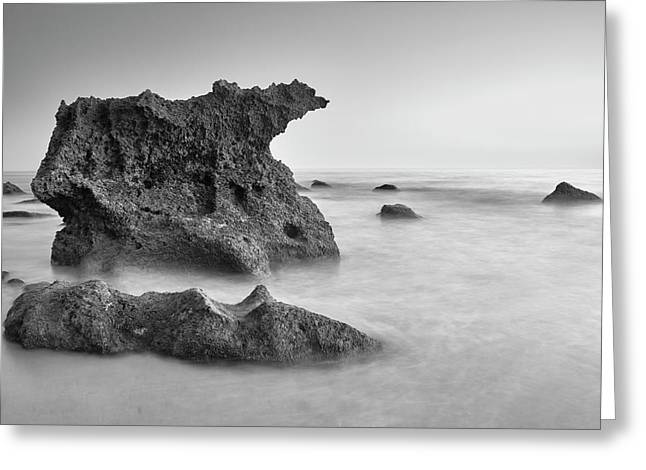 Roche Reefs. Bw. Cadiz Beaches At Sunset Greeting Card