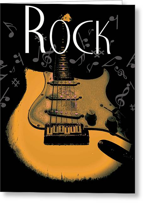 Rock Guitar Music Notes Greeting Card