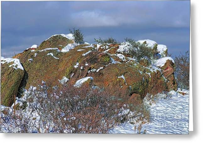 Greeting Card featuring the photograph Rock Snow Sky by Jon Burch Photography
