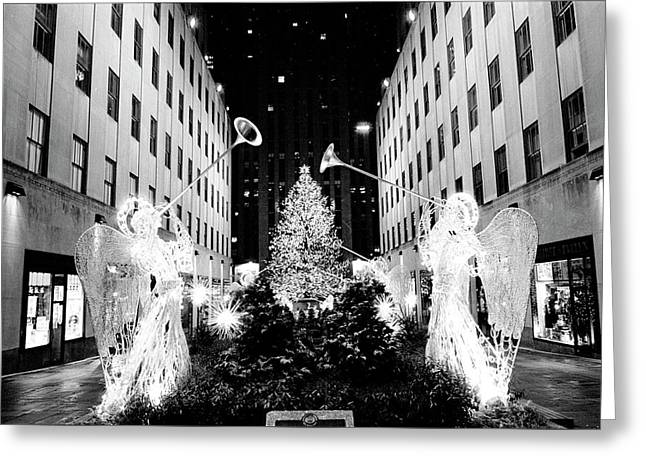 Greeting Card featuring the photograph Rockefeller Center Angels by Dave Beckerman