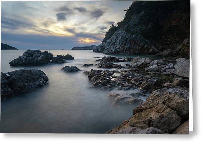 Greeting Card featuring the photograph Rocky Coast Near Dubrovnik by Milan Ljubisavljevic