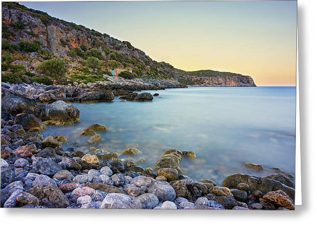 Greeting Card featuring the photograph Rocky Coast Near Monemvasia by Milan Ljubisavljevic