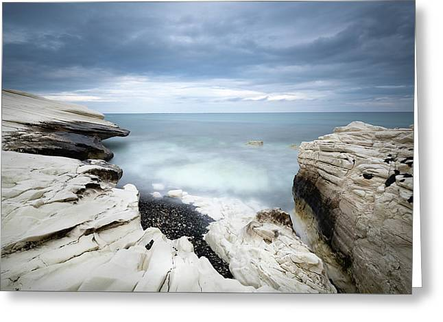 Greeting Card featuring the photograph Rocky Coast With White Limestones And Cloudy Sky by Michalakis Ppalis