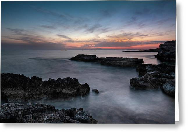 Greeting Card featuring the photograph Rocky Seascape With Dramatic Beautiful Sunset by Michalakis Ppalis