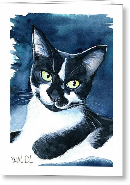 Rollie Tuxedo Cat Painting Greeting Card