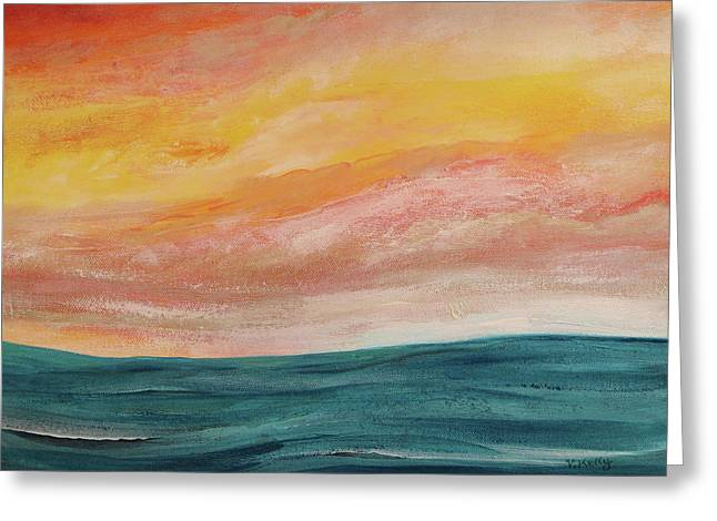 Greeting Card featuring the painting Rolling Ocean by Valerie Anne Kelly