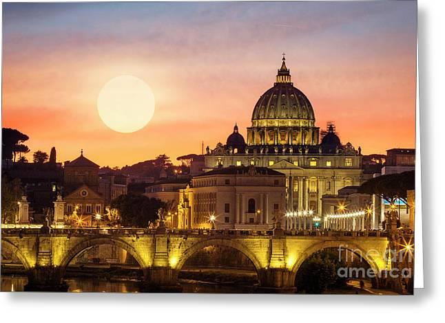 Roman Sunset Greeting Card