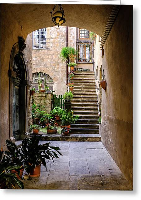 Greeting Card featuring the photograph The Cobblestone Streets Of Sorrento Italy by Robert Bellomy