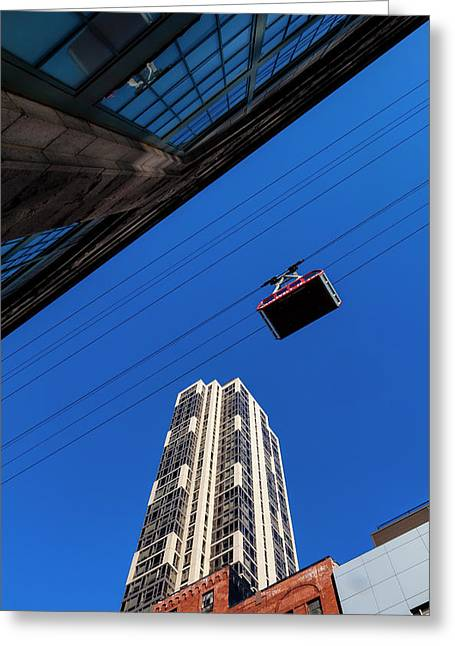 Roosevelt Island Tram And Buildings Greeting Card