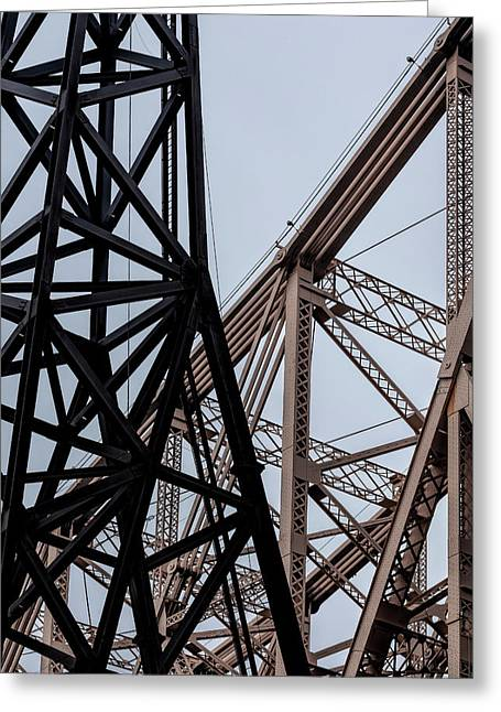 Roosevelt Island Tram Pylon And 59th Street Bridge Greeting Card