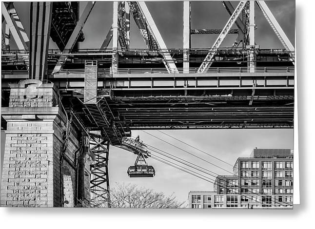 Roosevelt Tram Underneath The 59 St Bridge Bw Greeting Card