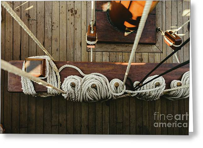 Ropes To Hold The Sails Of An Old Sailboat Rolled. Greeting Card