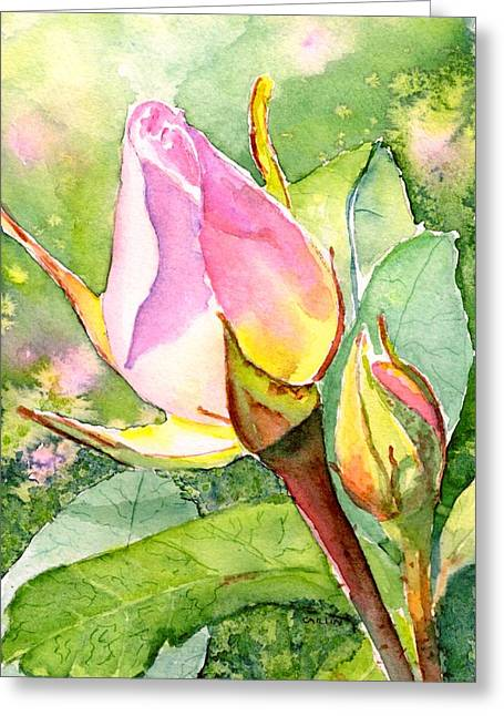 Greeting Card featuring the painting Rose Buds In The Garden by Carlin Blahnik CarlinArtWatercolor