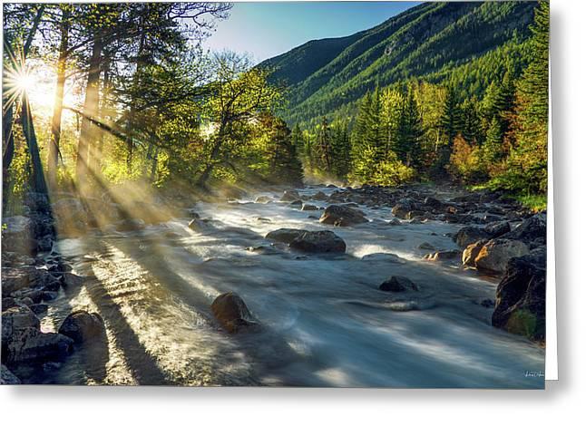 Rosebud Creek Sunrise Greeting Card by Leland D Howard