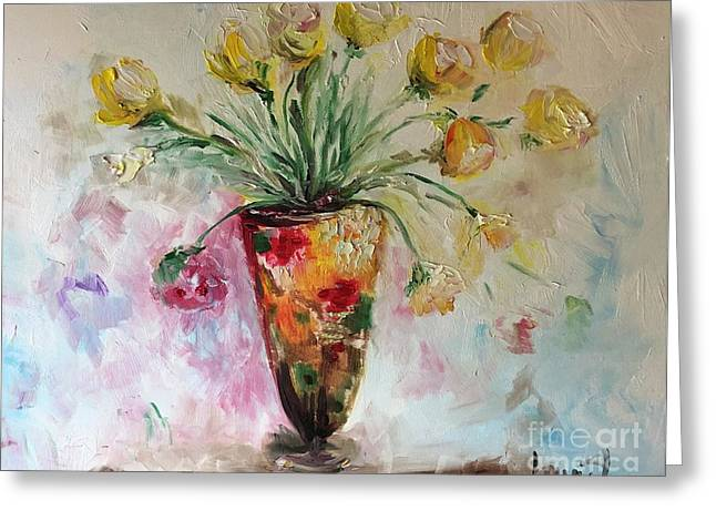 Greeting Card featuring the painting Roses In Vase by Laurie Lundquist