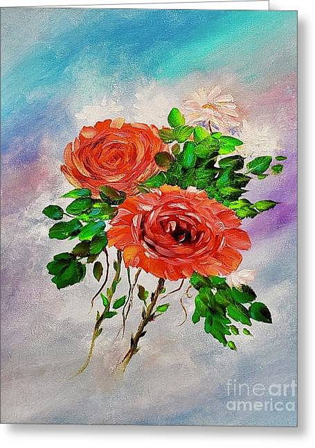 Greeting Card featuring the painting Roses by Mary Scott