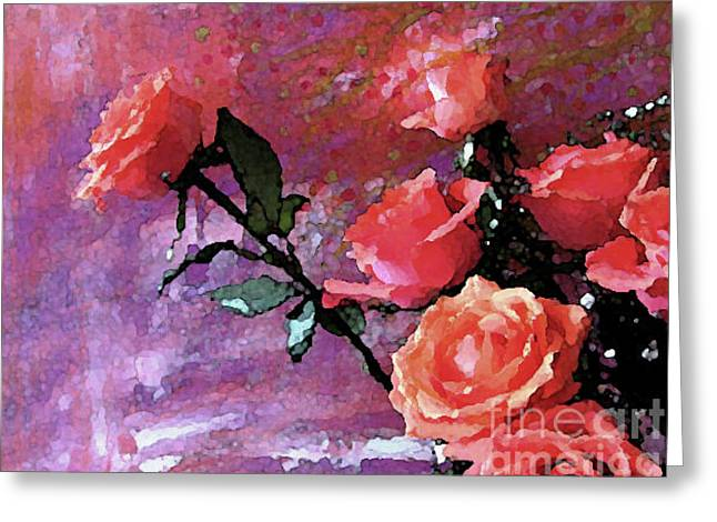 Roses Of Orange And Pink Greeting Card