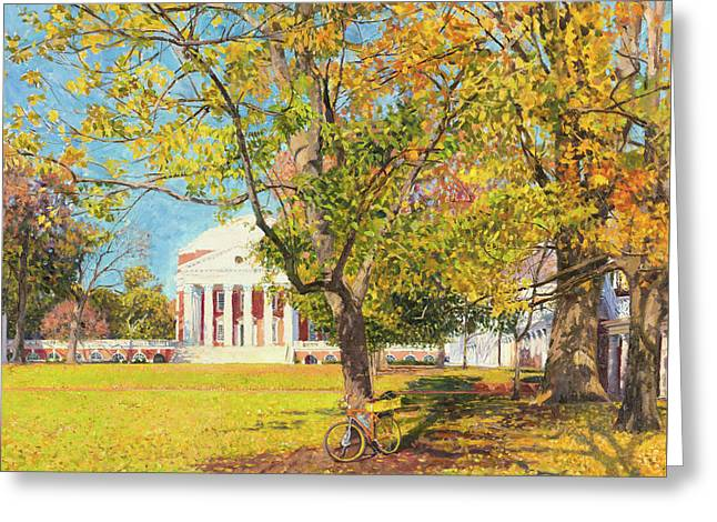 Rotunda And Bicyle, Autumn Greeting Card