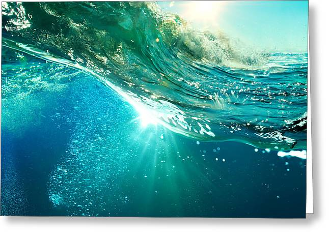 Rough Colored Ocean Wave Breaking Down Greeting Card by Willyam Bradberry