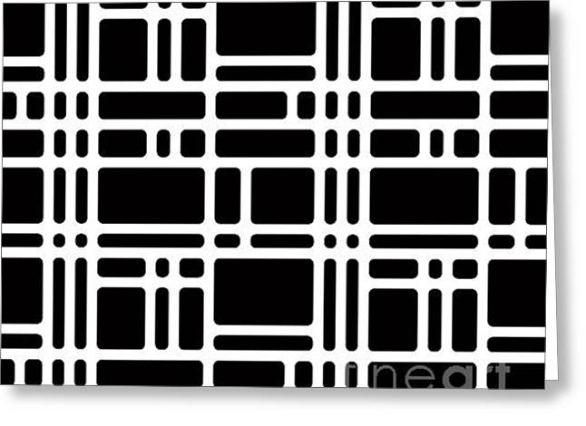 Rounded Squares Black And White Greeting Card