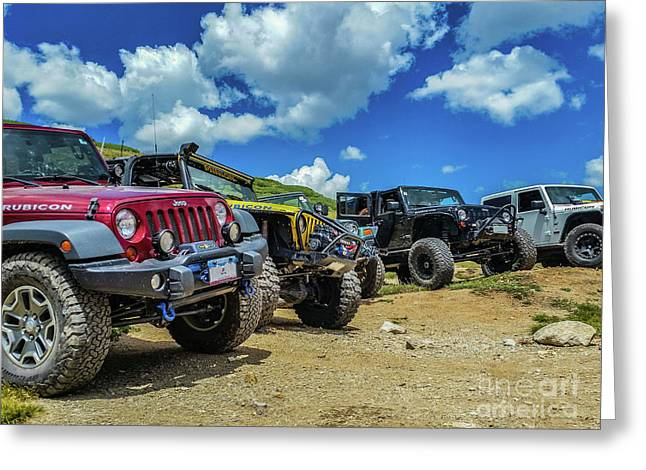Row Of Jeeps Greeting Card
