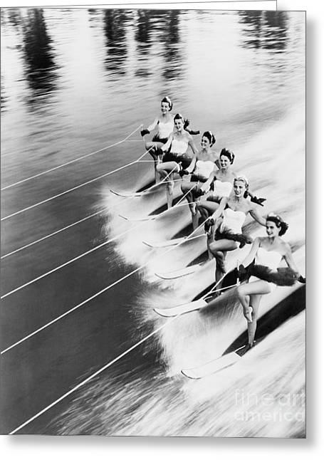 Row Of Women Water Skiing Greeting Card