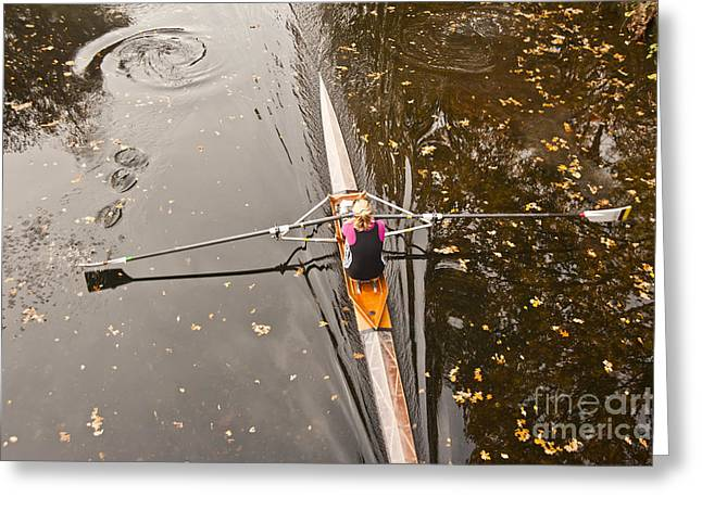 Rowing In Autumn Greeting Card by Raevas