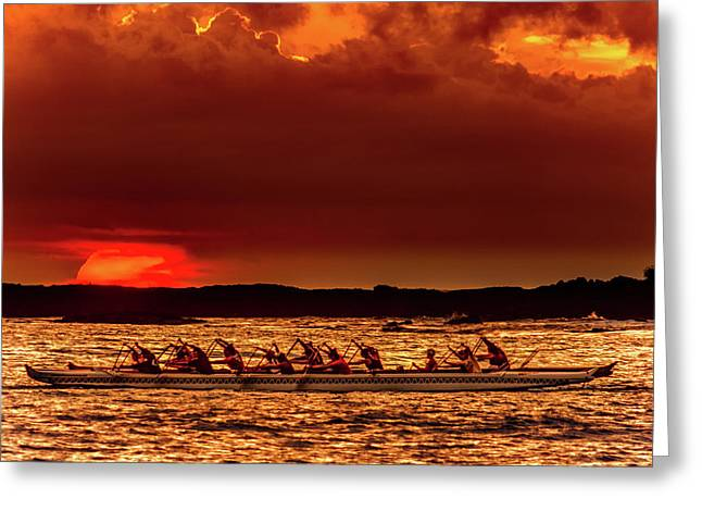 Rowing In The Sunset Greeting Card