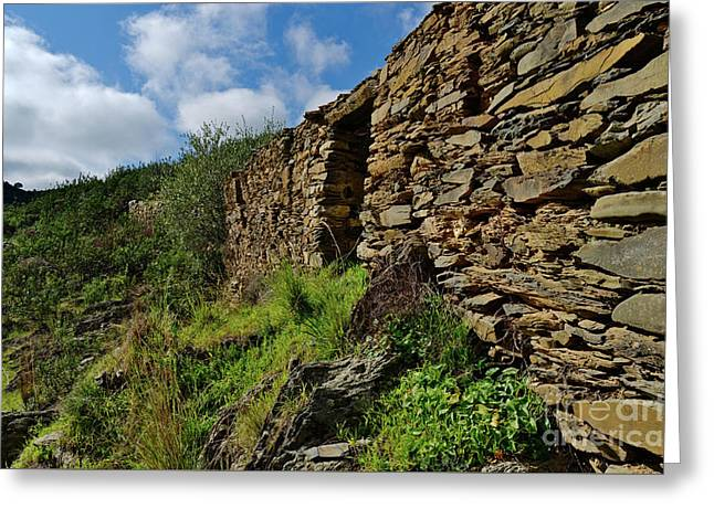 Ruins Of A Schist Cottage In Alentejo Greeting Card