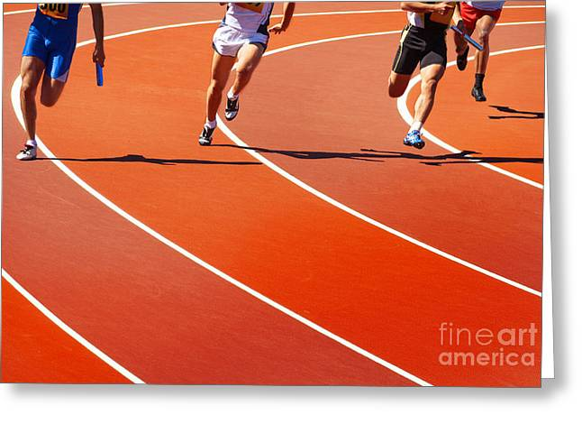 Running Athletes At Stadium In Relay Greeting Card