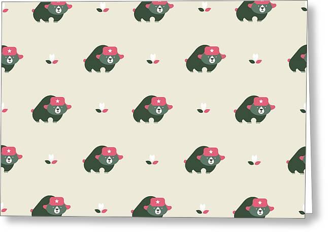 Rusian Bear Seamless Pattern Greeting Card