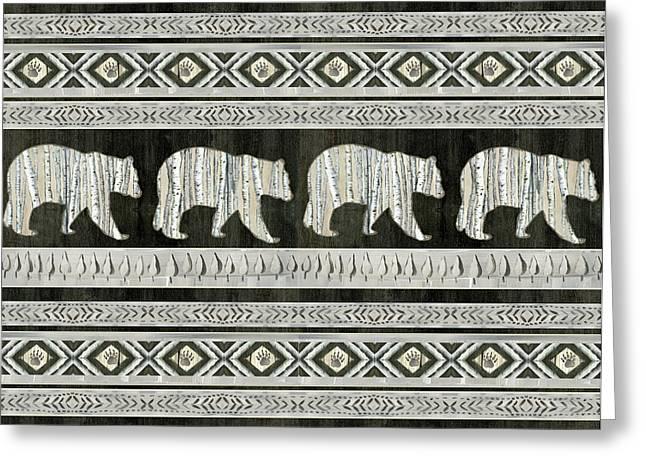 Rustic Mountain Lodge Bear Tribal Tree Pattern Greeting Card