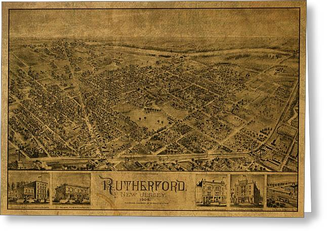 Rutherford New Jersey Vintage City Street Map 1904 Greeting Card