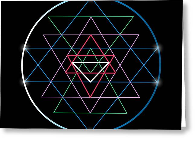 Sacred Geometry And Alchemy Symbol Sri Greeting Card by Maddyz
