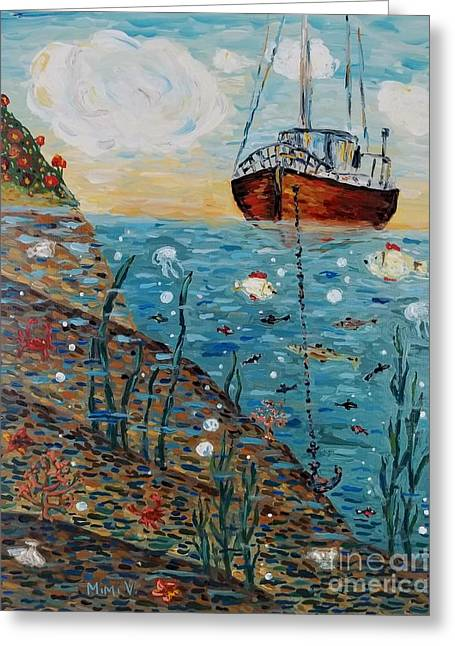 Greeting Card featuring the painting Safe Harbor by Maria Langgle