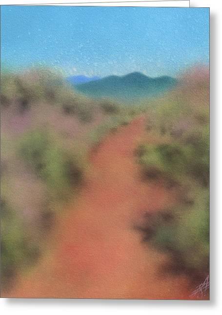 Sagebrush Path To Black Mountain Greeting Card by Robin Street-Morris