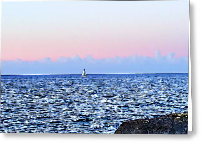 Greeting Card featuring the digital art Sail Boat by Lucia Sirna