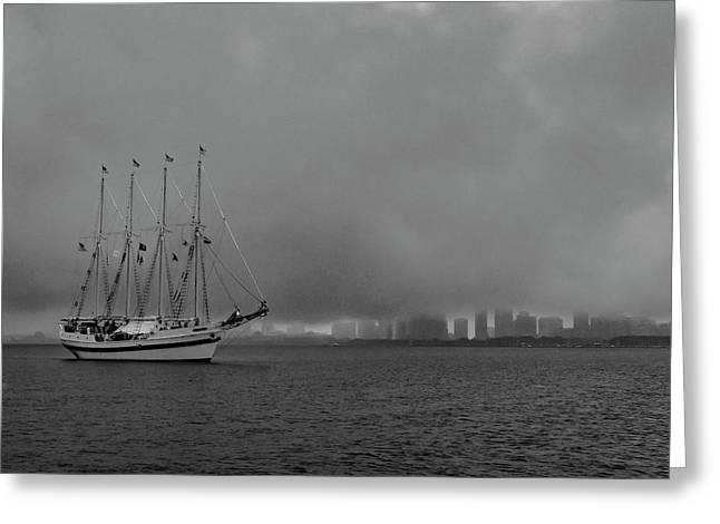 Sail In The Fog Greeting Card