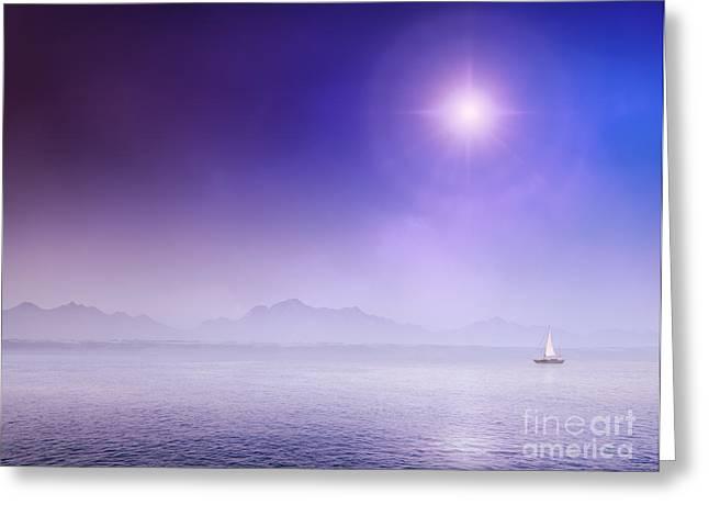 Sail Yacht On Misty Ocean Greeting Card