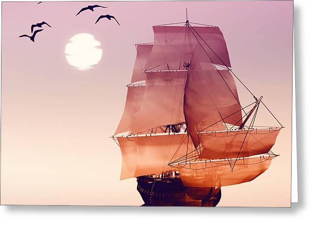Sailboat Against A Beautiful Landscape Greeting Card