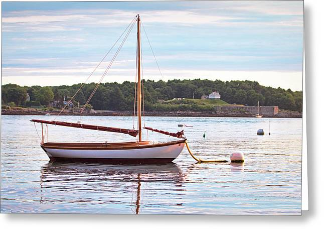 Sailboat At Sunrsie Greeting Card by Eric Gendron