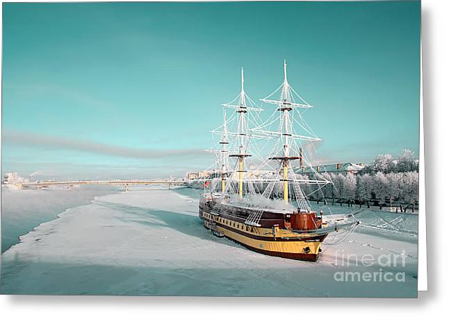 Sailboat On Pier Greeting Card