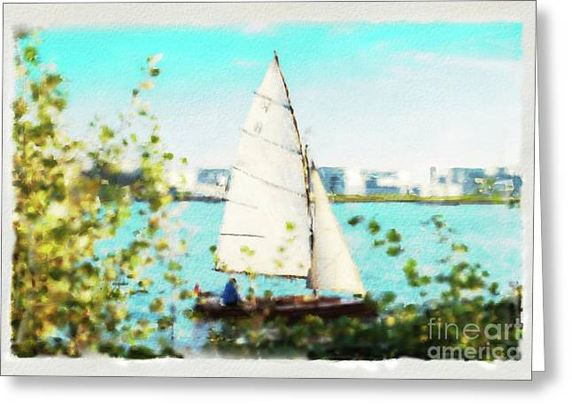 Sailboat On The River Watercolor Greeting Card