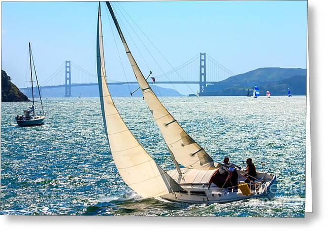 Sailboats In The San Francisco Bay Greeting Card