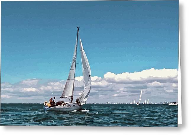 Sailing Regatta On A Brisk Summer's Day Greeting Card