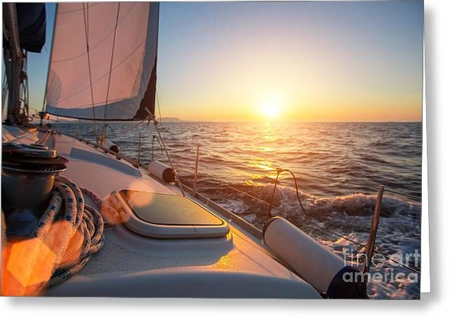 Sailing Ship Luxury Yacht Boat In The Greeting Card